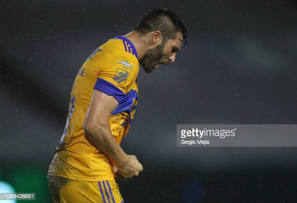 AndrePierre Gignac celebrates after scoring the first goal of his team during the 7th round match between Mazatlan FC and Tigres UANL as part of the...