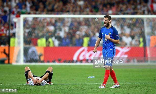 AndrePierre Gignac of France celebrates his team's 20 win in the UEFA EURO semi final match between Germany and France at Stade Velodrome on July 7...