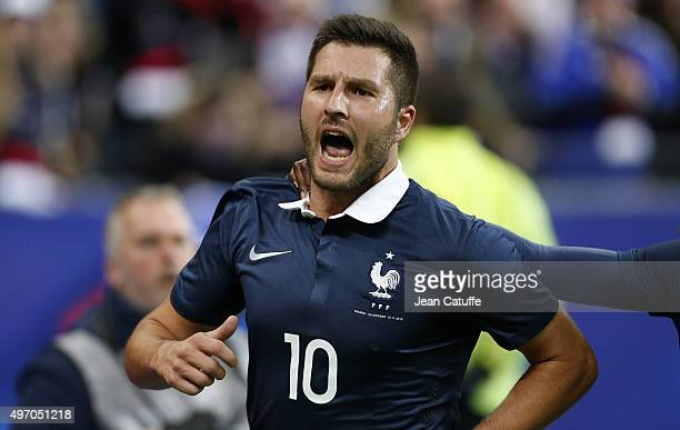 Andre-Pierre Gignac of France celebrates scoring a goal during the international friendly match between France and Germany at Stade de France on...