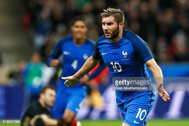 AndrePierre Gignac of France celebrates scoring his teams second goal of the game during the International Friendly match between France and Russia...