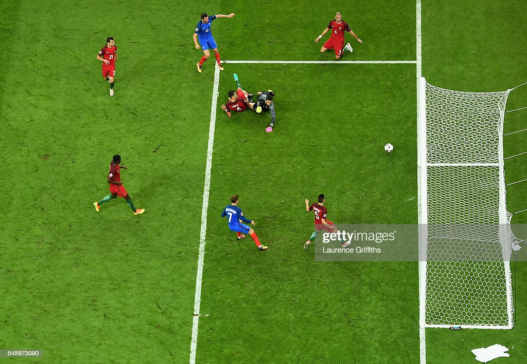Andre-Pierre Gignac of France (top c) has a shot on goal which hits the post during the UEFA EURO 2016 Final match between Portugal and France at Stade de France on July 10, 2016 in Paris, France.
