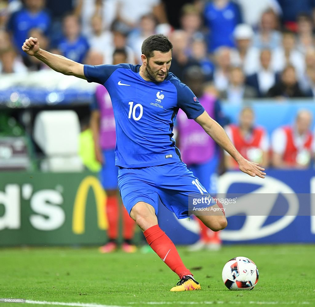 Andre-Pierre Gignac of France in action during the Euro 2016 final match between Portugal and France at Stade de France in Paris, France on July 10, 2016.