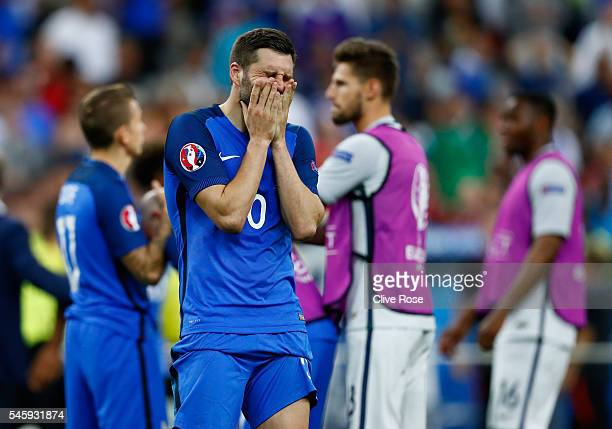 AndrePierre Gignac of France shows his dejection after their 01 defeat in the UEFA EURO 2016 Final match between Portugal and France at Stade de...
