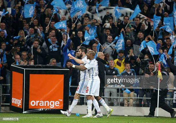 AndrePierre Gignac of OM celebrates scoring the 1st goal for his team with Andre Ayew of OM during the French Ligue 1 match between Olympique de...