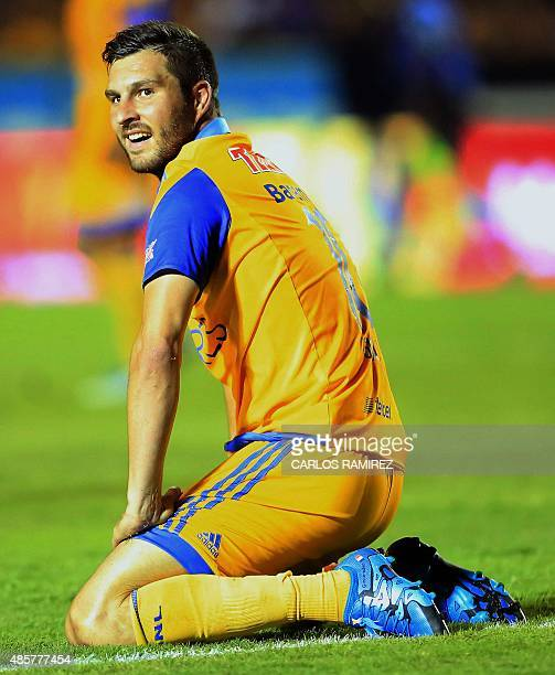 AndrePierre Gignac of Tigres after failed his shot against Queretaro during the Mexican Apertura 2015 tournament football match at the Universitario...