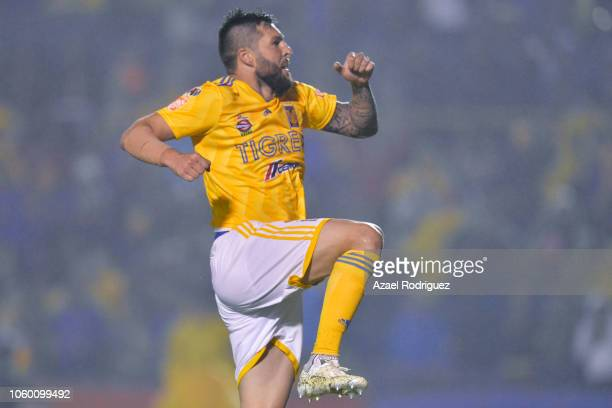 AndrePierre Gignac of Tigres celebrates after scoring his team's fifth goal during the 16th round match between Tigres UANL and Puebla as part of...