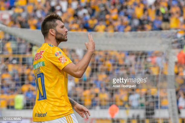 AndrePierre Gignac of Tigres celebrates after scoring his teams first goal during the fourth round match between Tigres UANL and Toluca as part of...