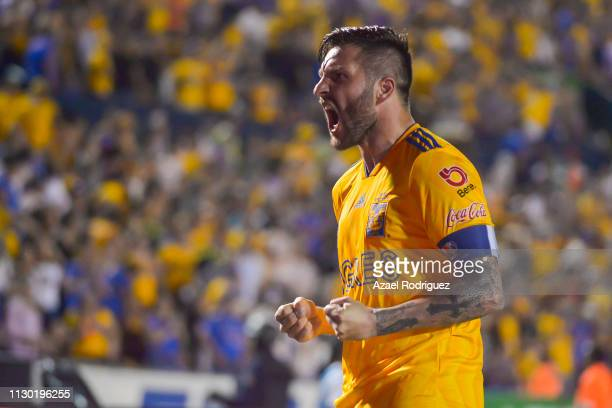 AndrePierre Gignac of Tigres celebrates after scoring his team's first goal during the seventh round match between Tigres UANL and Necaxa as part of...