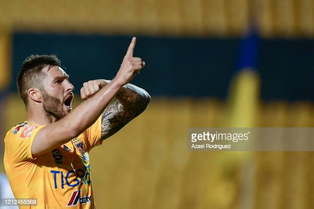 AndrePierre Gignac of Tigres celebrates after scoring his team's first goal during the 10th round match between Tigres UANL and FC Juarez as part of...