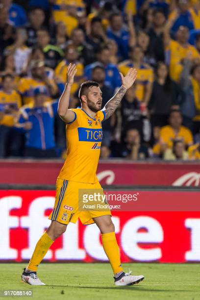 AndrePierre Gignac of Tigres celebrates after scoring his team's first goal during the 6th round match between Tigres UANL and America as part of the...