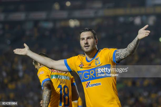AndrePierre Gignac of Tigres celebrates after scoring his team's first goal during the 9th round match between Tigres UANL and Morelia as part of the...