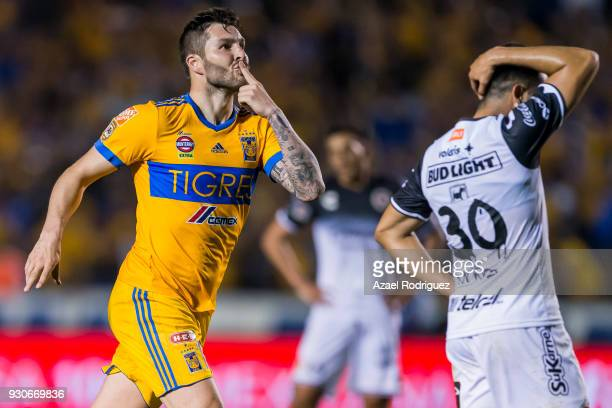 AndrePierre Gignac of Tigres celebrates after scoring his team's first goal during the 11th round match between Tigres UANL and Tijuana as part of...