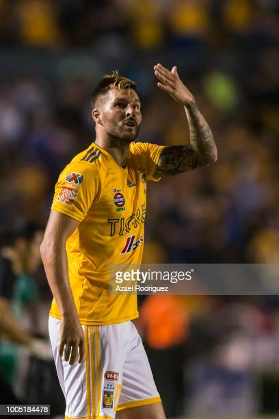 AndrePierre Gignac of Tigres celebrates after scoring his team´s second goal during the 1st round match between Tigres UANL and Leon as part of the...