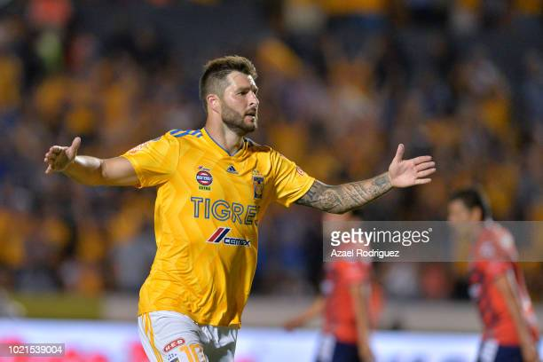 AndrePierre Gignac of Tigres celebrates after scoring his team's second goal during the 6th round match between Tigres UANL and Veracruz as part of...