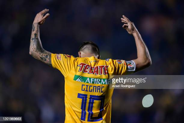 AndrePierre Gignac of Tigres celebrates after scoring his team's second goal during the 3rd round match between Tigres UANL and Atlas as part of the...