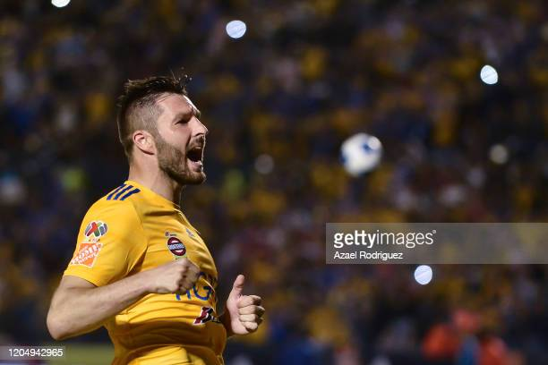 Andre-Pierre Gignac of Tigres celebrates after scoring his team's second goal during the 5th round match between Tigres UANL v Chivas as part of the...