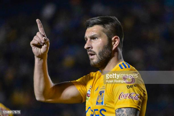 Andre-Pierre Gignac of Tigres celebrates after scoring his team's second goal during the round of 16 match between Tigres UANL and Alianza as part of...