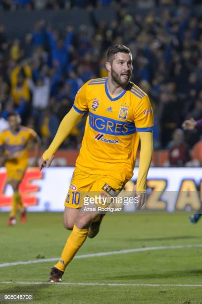 AndrePierre Gignac of Tigres celebrates after scoring his team's second goal during the 2nd round match between Tigres UANL and Santos Laguna as part...