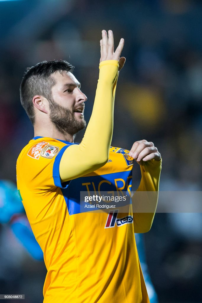 Andre-Pierre Gignac of Tigres celebrates after scoring his team's second goal during the 2nd round match between Tigres UANL and Santos Laguna as part of the Torneo Clausura 2018 Liga MX on January 13, 2018 in Monterrey, Mexico.