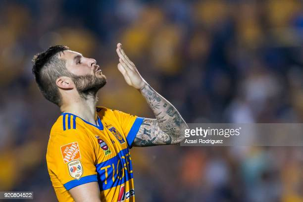AndrePierre Gignac of Tigres celebrates after scoring his team's second goal during the 8th round match between Tigres UANL and Atlas as part of the...