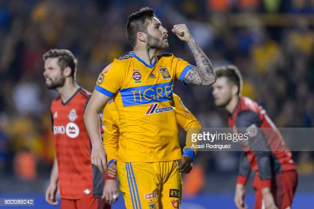 AndrePierre Gignac of Tigres celebrates after scoring his team's second goal during the quarter finals second leg match between Tigres UANL and...