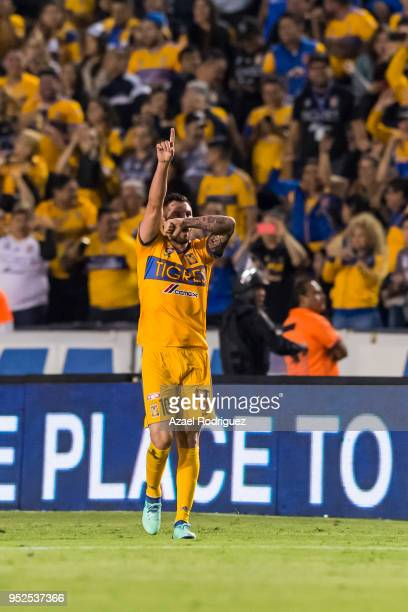 AndrePierre Gignac of Tigres celebrates after scoring his teams second goal during the 17th round match between Tigres UANL and Monterrey as part of...