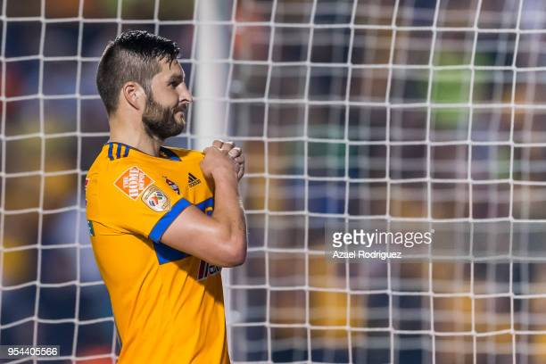 AndrePierre Gignac of Tigres celebrates after scoring his team's second goal via penalty during the quarter finals first leg match between Tigres...
