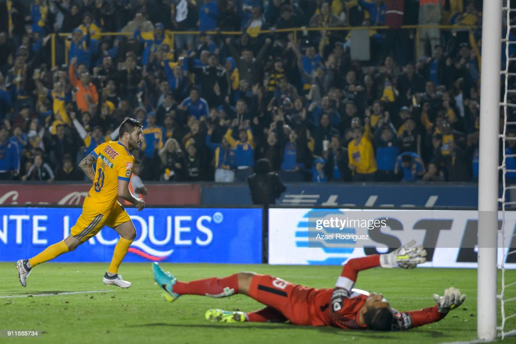 Andre-Pierre Gignac of Tigres celebrates after scoring his team's third goal during the 4th round match between Tigres UANL and Pachuca as part of the Torneo Clausura 2018 Liga MX on January 27, 2018 in Monterrey, Mexico.