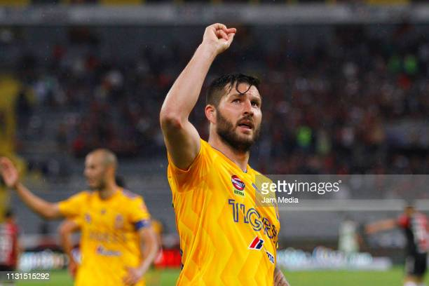 AndrePierre Gignac of Tigres celebrates after scoring the first goal of his team during the 8th round match between Atlas and Tigres UNAL as part of...