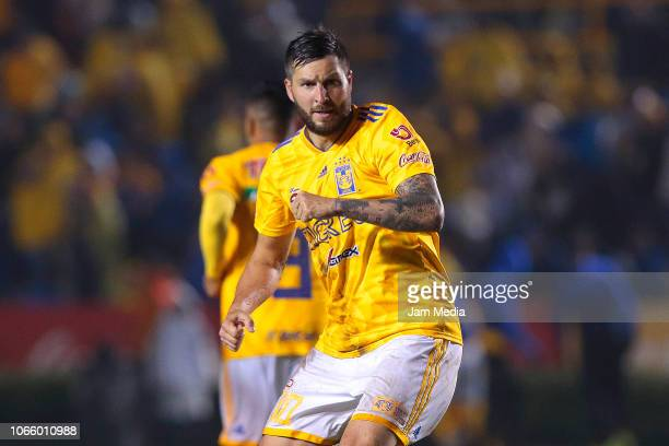AndrePierre Gignac of Tigres celebrates after scoring the second goal of his team during a 16th round match between Tigres UANL and Puebla as part of...
