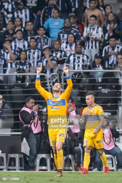 AndrePierre Gignac of Tigres celebrates the second goal of his team scored by his teammate Francisco Meza during the second leg of the Torneo...