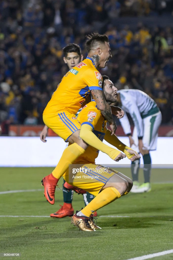 Andre-Pierre Gignac of Tigres celebrates with teammate Eduardo Vargas after scoring his team's second goalduring the 2nd round match between Tigres UANL and Santos Laguna as part of the Torneo Clausura 2018 Liga MX on January 13, 2018 in Monterrey, Mexico.