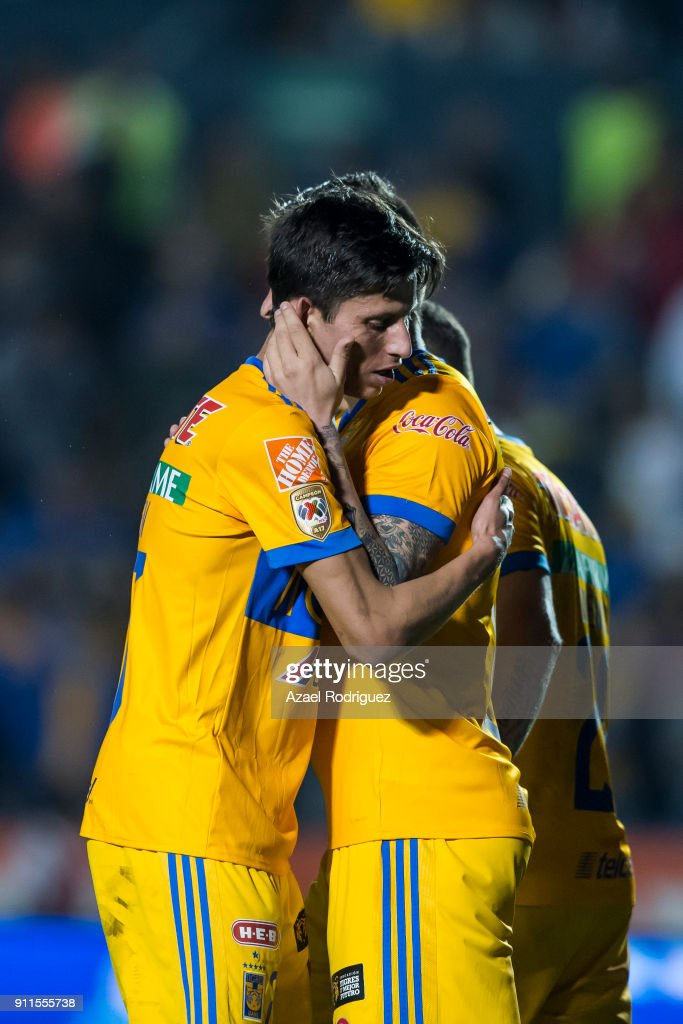 Andre-Pierre Gignac of Tigres celebrates with teammate Jurgen Damm after scoring his team's third goal during the 4th round match between Tigres UANL and Pachuca as part of the Torneo Clausura 2018 Liga MX on January 27, 2018 in Monterrey, Mexico.