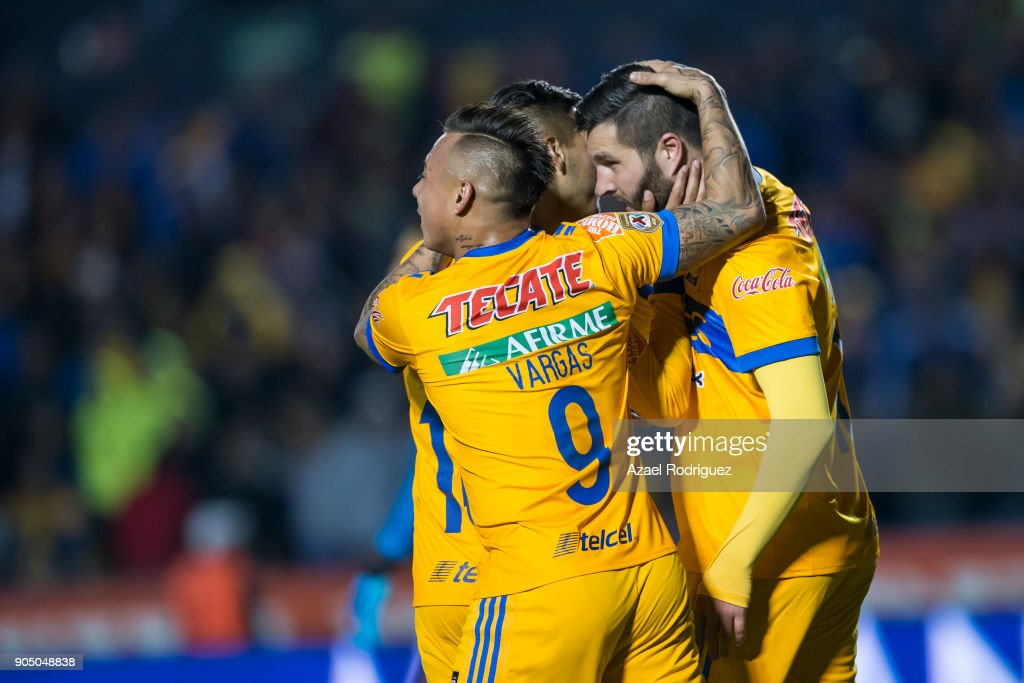 Andre-Pierre Gignac of Tigres celebrates with teammates after scoring his team'u2019s second goalduring the 2nd round match between Tigres UANL and Santos Laguna as part of the Torneo Clausura 2018 Liga MX on January 13, 2018 in Monterrey, Mexico.