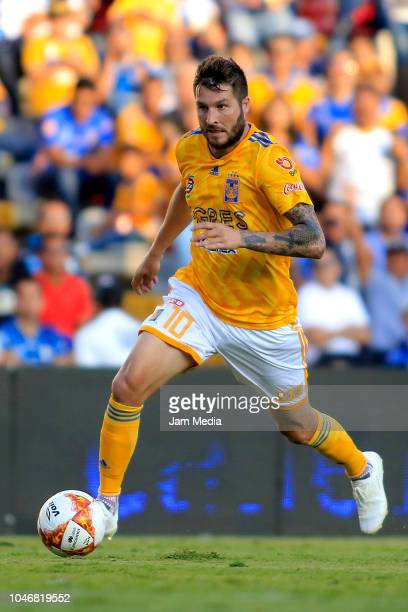AndrePierre Gignac of Tigres controls the ball during the 11th round match between Queretaro and Tigres UANL as part of the Torneo Apertura 2018 Liga...