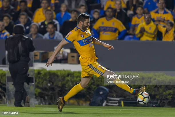 AndrePierre Gignac of Tigres controls the ball during the quarterfinals second leg match between Tigres UANL and Toronto FC as part of the CONCACAF...