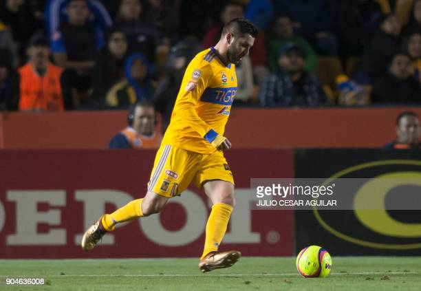 AndrePierre Gignac of Tigres controls the ball during their Mexican Clausura 2018 tournament football match against Santos at the Universitario...