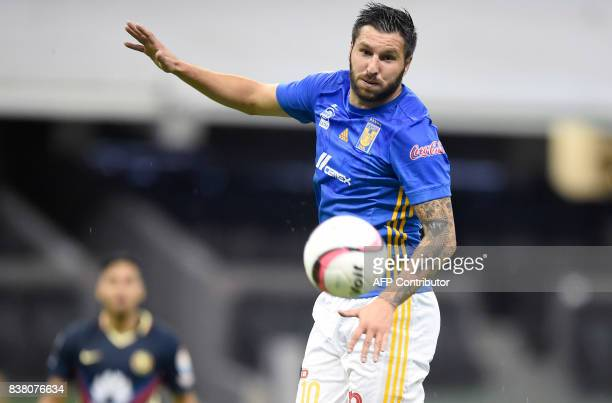 AndrePierre Gignac of Tigres controls the balls during their Mexican Apertura 2017 tournament football match against America at the Azteca stadium on...