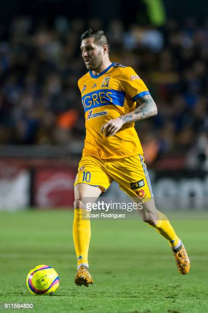 AndrePierre Gignac of Tigres drives the ball during the 4th round match between Tigres UANL and Pachuca as part of the Torneo Clausura 2018 Liga MX...