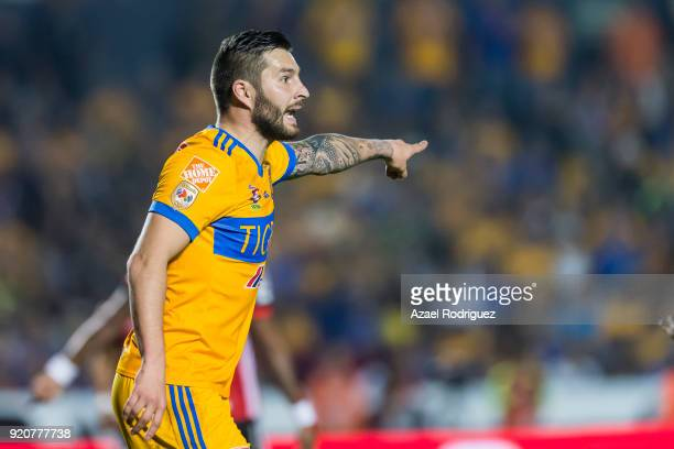 AndrePierre Gignac of Tigres gestures during the 8th round match between Tigres UANL and Atlas as part of the Torneo Clausura 2018 Liga MX at...