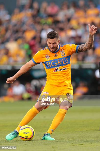 AndrePierre Gignac of Tigres kicks the ball during the 15th round match between Tigres UANL and Cruz Azul as part of the Torneo Clausura 2018 Liga MX...