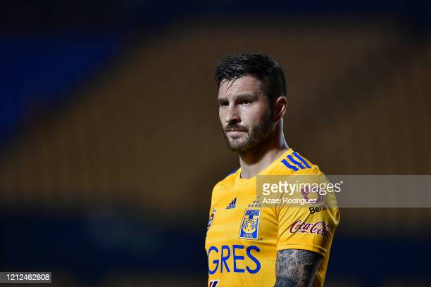 AndrePierre Gignac of Tigres looks on during the 10th round match between Tigres UANL and FC Juarez as part of the Torneo Clausura 2020 Liga MX at...