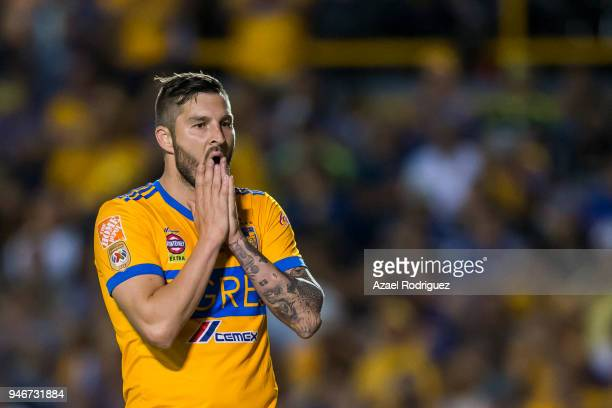 AndrePierre Gignac of Tigres reacts during the 15th round match between Tigres UANL and Cruz Azul as part of the Torneo Clausura 2018 Liga MX at...