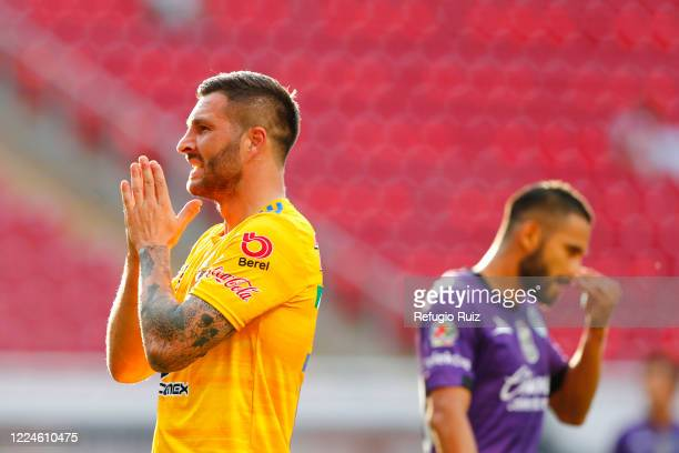 AndrePierre Gignac of Tigres reacts during the match between Mazatlan FC and Tigres UANL as part of friendly torunament Copa GNP por Mexico at Akron...