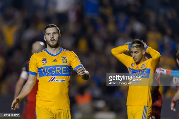 AndrePierre Gignac of Tigres reacts during the quarterfinals second leg match between Tigres UANL and Toronto FC as part of the CONCACAF Champions...