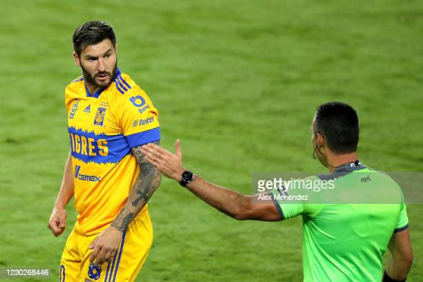 Andre-Pierre Gignac of Tigres UANL argues a call with the referee during the CONCACAF Champions League final game against Los Angeles FC at Exploria...