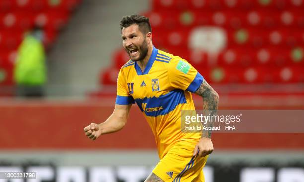Andre-Pierre Gignac of Tigres UANL celebrates after scoring their sides first goal during the FIFA Club World Cup Qatar 2020 Second Round match...
