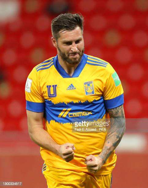 Andre-Pierre Gignac of Tigres UANL celebrates after scoring their sides second goal from the penalty spot during the FIFA Club World Cup Qatar 2020...