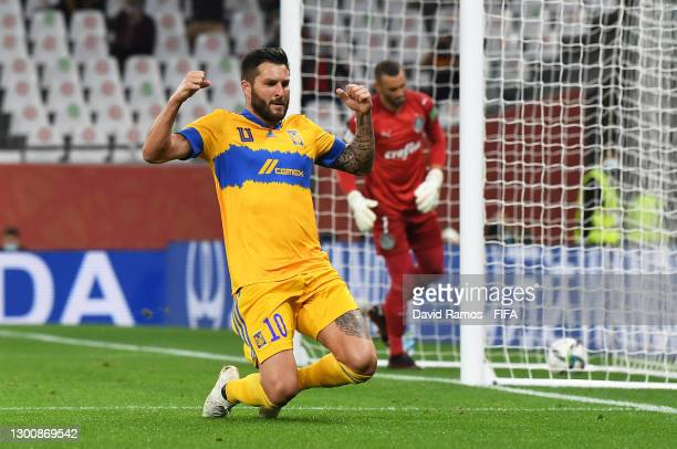 Andre-Pierre Gignac of Tigres UANL celebrates after scoring their team's first goal during the FIFA Club World Cup Qatar 2002 Semi-Final match...