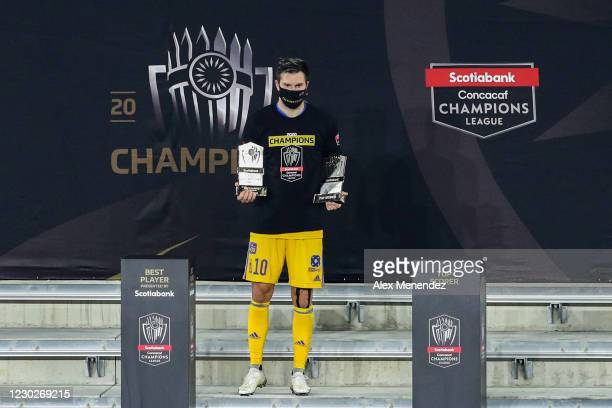 Andre-Pierre Gignac of Tigres UANL is awarded the best player and highest scorer awards during the CONCACAF Champions League final game against Los...